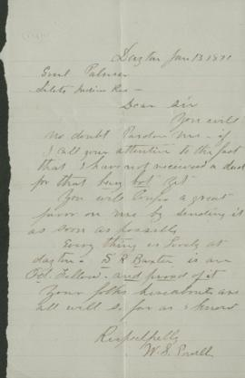 Letter to Joel Palmer from W.S. Powell?