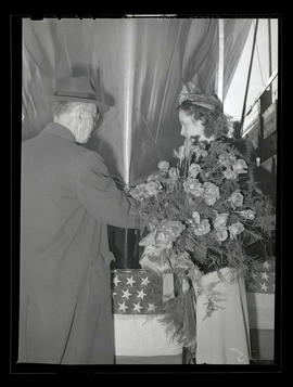 Melva Lillian Cole and unidentified man at ship-launching ceremony, Albina Engine & Machine W...