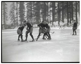 Portland Buckaroos? playing hockey on frozen pond