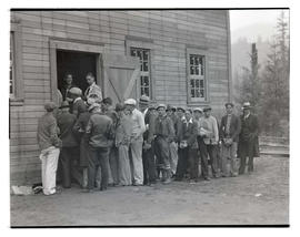 Workers in line to register at Civilian Conservation Corps camp in Zigzag, Oregon