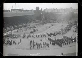 Shriners in formation at Multnomah Field, Portland