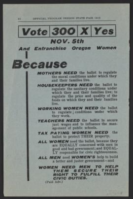 State Fair Program Advertisement in favor of 1912 Equal Suffrage Referendum