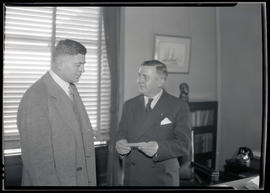 Portland Mayor Joseph K. Carson and unidentified man at city hall