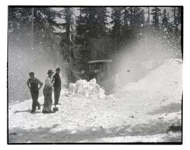 Workers plowing snow, possibly on Mount Hood