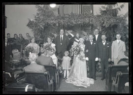 Unidentified wedding party and guests
