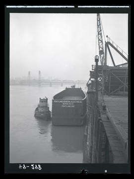 Portland General Electric barge on the Willamette River