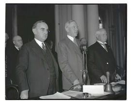 Julius L. Meier, Henry L. Corbett, and Charles H. Martin at opening of 1935 Oregon legislative se...