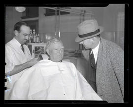 Vice President John Nance Garner at barbershop, Union Station, Portland