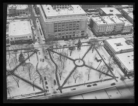 Aerial view of Lownsdale Square, Portland