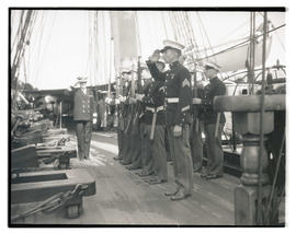 Commander Louis J. Gulliver? and Marine guard aboard USS Constitution