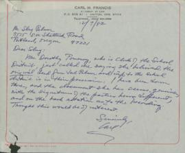 Letter to Omar C. Palmer from Carl H. Francis