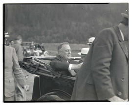 President Franklin D. Roosevelt in car at Bonneville dam site
