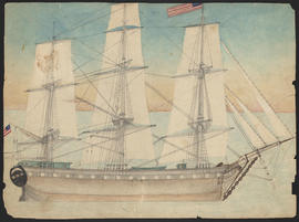 Watercolor sketch of the ship Lausanne, 1839