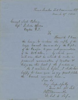 Letter to Joel Palmer from Colonel Benjamin Bonneville