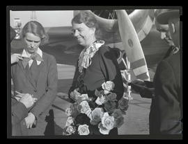 Eleanor Roosevelt and daughter Anna Roosevelt Boettiger at Swan Island airport, Portland