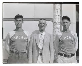 Two baseball players for Cooperage with man in suit