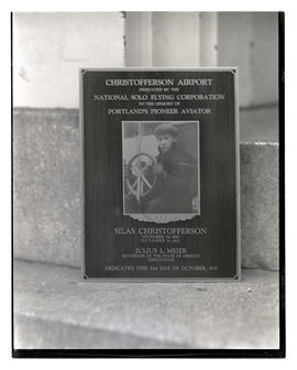 Christofferson Airport dedication plaque