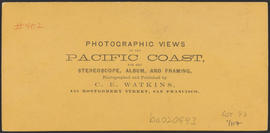 "Verso of, ""The Middle Block House, Cascades, Columbia River."" (Stereograph 1260)"