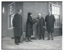 Earl Riley, Grace Meier, L. E. Kern, and Rufus C. Holman at dedication of Waverly Baby Home, Port...
