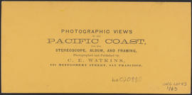 "Verso of, ""Cape Horn, Columbia River."" (Stereograph 1229)"