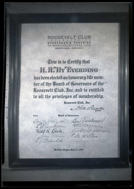 "H. R. ""Hy"" Everding's certificate of life membership on Roosevelt Club Board of Governors"