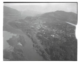 Aerial view of Hood River, Oregon, and Columbia River Gorge