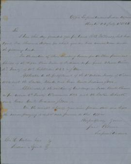 Letter from Joel Palmer to George Ambrose, Indian Agent