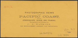 "Verso of, ""View on the Columbia River, Middle Block House, Cascades."" (Stereograph 1264)"