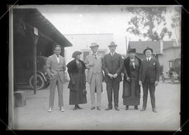 Photograph of Douglas Fairbanks, Maria C. Jackson, C. S. Jackson, and three unidentified people
