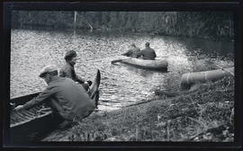 Irene Finley and others in canoes