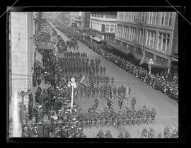 Soldiers marching in parade on 6th Street, Portland