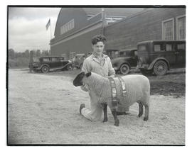 Teenage boy with prize-winning sheep