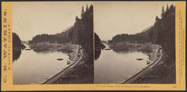 """The Tooth Bridge, O.R.R. Cascades, Columbia River."" (Stereograph 1298)"