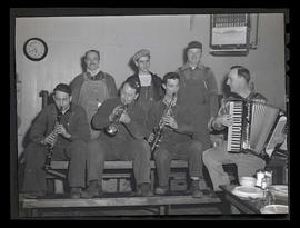 Workers playing instruments, Albina Engine & Machine Works, Portland