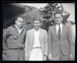 Eddie Cooper, L. F. Schoenhair, and Ray Acre, team of Plane 23, Ford National Reliability Air Tour