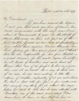Letter to Sarah Ann Palmer from her nephew A.D. Stockton regarding financial matters after the de...