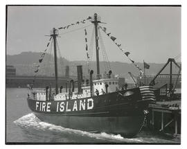 Launching of lightship Fire Island in Portland