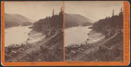 """View on the Columbia River, Middle Block House, Cascades."" (Stereograph 1264)"