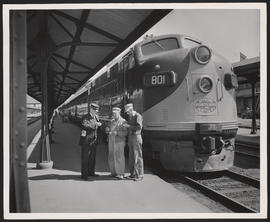 Train Conductor, Engineer and Firefighter Compare Watches at SP&S Streamlined Train, Portland...