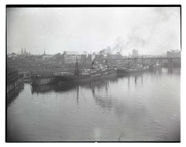 Ships docked on Willamette River in Portland