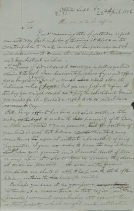 Draft of Letter from Joel Palmer to A.D. Babcock regarding property disputes