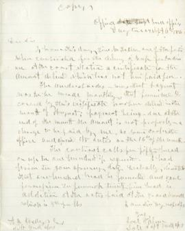 Copy of letter to A. H. Hedges