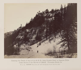"""D.111. Clearing the Track of the O.R. & N.R.R., from Rooster Rock to Oneonta Falls."""