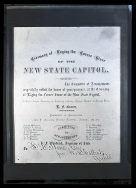 B. L. Stone's invitation to 1873 Oregon State Capitol cornerstone ceremony