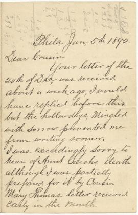 Letter from Alex D. Stockton regarding the death of Sarah Ann Palmer