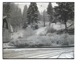 Snow-covered street and hillside