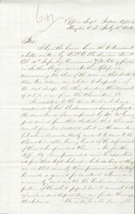Copy of letter from Joel Palmer to George Manypenny