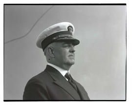 Unidentified U. S. Navy officer in profile, head and shoulders portrait
