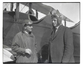 Lieutenant Oakley G. Kelly and Postmaster John M. Jones before departure for air-mail celebration