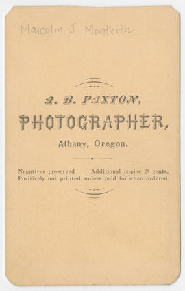 A. B. Paxton portrait of Malcolm J. Monteith (verso)